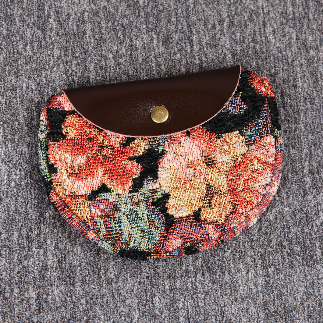 Minimalist Style Leather Carpet Coin Purse<br>Floral Rose