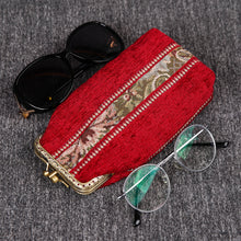 Load image into Gallery viewer, Vintage Carpet Glasses Case Double Kiss Lock<br>Floral Stripes