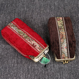 Vintage Carpet Glasses Case Double Kiss Lock<br>Floral Stripes
