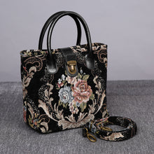 Load image into Gallery viewer, Mini Carpet Tote<br>Floral Black