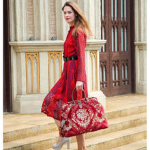 Load image into Gallery viewer, Mary Poppins Carpet Bag <br>Floral Wine