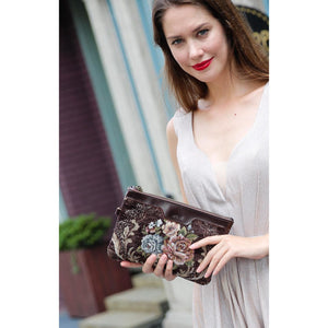 Carpet Clutch & Wristlet<br>Floral Coffee