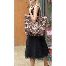Load image into Gallery viewer, Carpet Tote<br>Floral Coffee