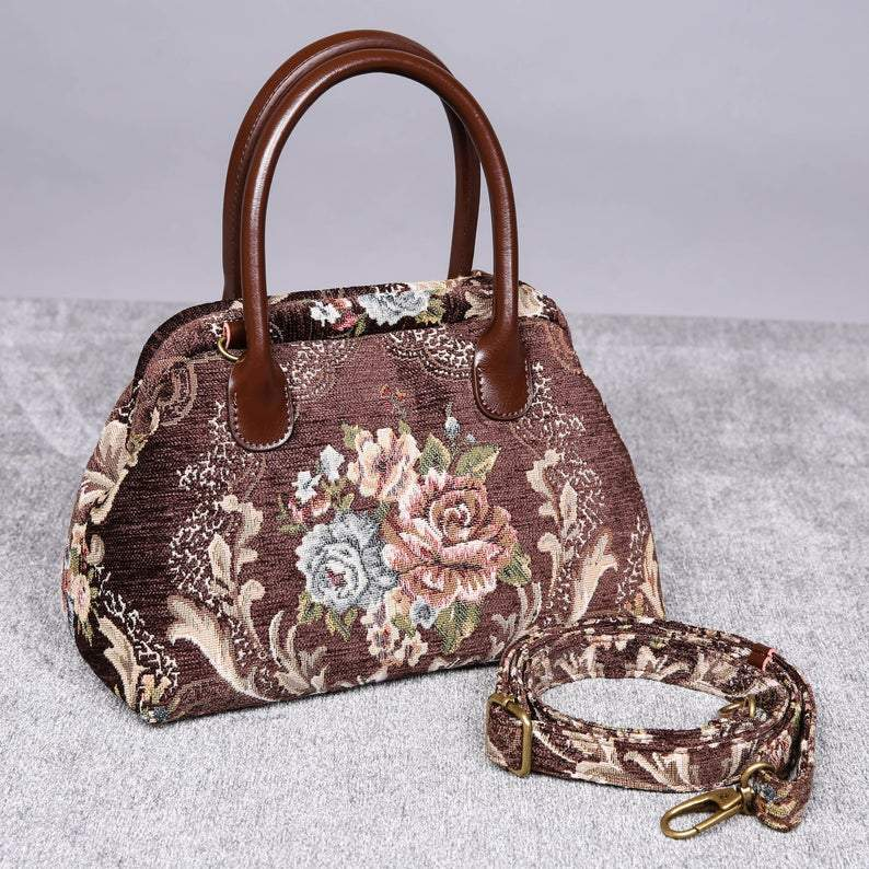 Carpet Handbag<br>Floral Coffee