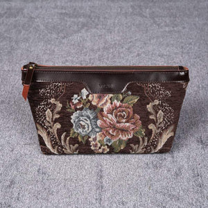 Carpet Makeup Bag<br>Floral Coffee