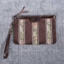 Load image into Gallery viewer, Carpet Clutch & Wristlet<br>Floral Stripes Coffee