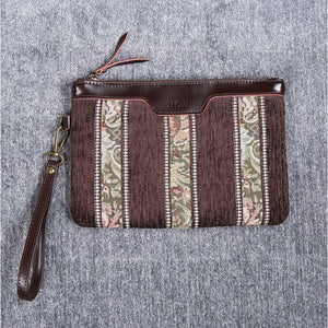 Carpet Clutch & Wristlet<br>Floral Stripes Coffee