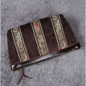 Carpet Makeup Bag<br>Floral Stripes Coffee