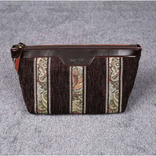 Load image into Gallery viewer, Carpet Makeup Bag<br>Floral Stripes Coffee
