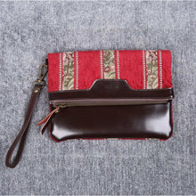 Load image into Gallery viewer, Carpet Clutch & Wristlet<br>Floral Stripes Red