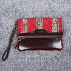 Carpet Clutch & Wristlet<br>Floral Stripes Red