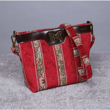 Load image into Gallery viewer, Carpet Crossbody Bag<br>Floral Stripes Red