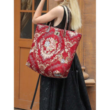 Load image into Gallery viewer, Carpet Tote<br>Floral Wine