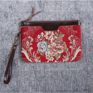 Carpet Clutch & Wristlet<br>Floral Wine