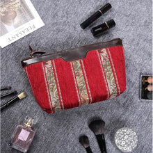 Load image into Gallery viewer, Carpet Makeup Bag<br>Floral Stripes Red
