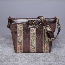 Load image into Gallery viewer, Carpet Crossbody Bag<br>Floral Stripes Coffee