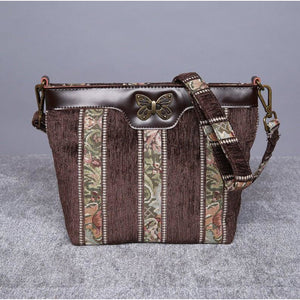 Carpet Crossbody Bag<br>Floral Stripes Coffee