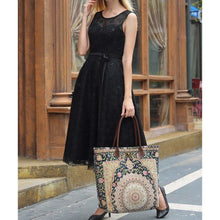 Load image into Gallery viewer, Carpet Tote<br>Oriental Navy