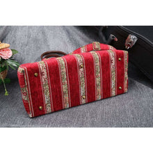 Load image into Gallery viewer, Mary Poppins Carpet Bag<br>Floral Stripes Red
