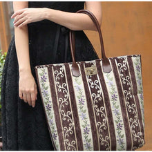 Load image into Gallery viewer, Carpet Tote<br>Victorian Stripes Coffee