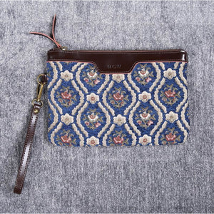 Carpet Clutch & Wristlet<br>Traditional Blue