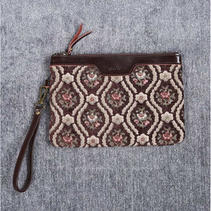 Carpet Clutch & Wristlet<br>Traditional Coffee