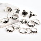 15 Pc  Bohemian Retro Silver Rings