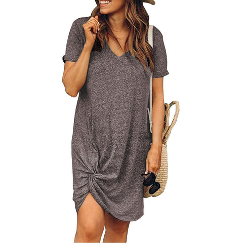 Women's Loose Bow V Neck Boho Vintage Dress