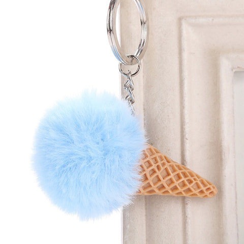 Fur Ball Ice Cream Cone Keychain