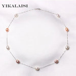 YIKALAISI Natural Pearl Chokers Necklaces 925 sterling Silver Jewelry