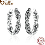 BAMOER 925 Sterling Silver Twist Of Fate Stud Earrings