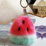 Pom Pom Watermelon Faux Fur Ball Keychain