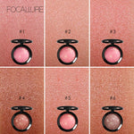 FOCALLURE Makeup Blusher Top Quality Professional Cheek 6 Colors Baked Blush Bronzer Blusher Face Contour Make Up