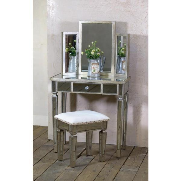 Antique Silver Mirrored Wooden Dressing Table with Mirror and Stool