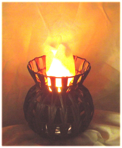 Chevron Low Vase Fire Lamp
