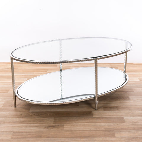 Silver Gilt Leaf Parisienne Metal Coffee Table