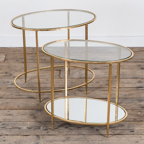Gold Gilt Leaf Parisienne Metal Nests of Tables - set of two