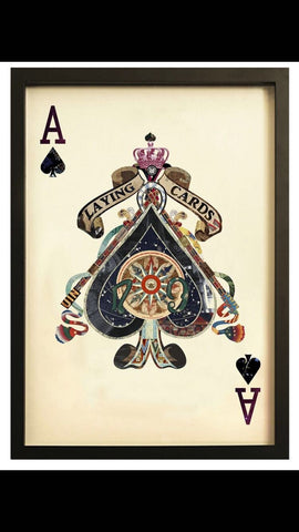 Ace of Spades Playing Card Collage Wall Art