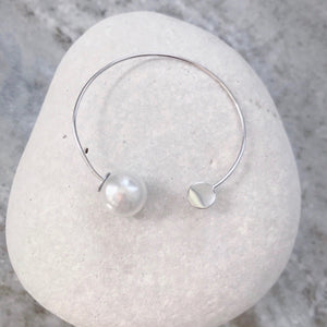 Sterling Silver Hoops With Pearl Backing