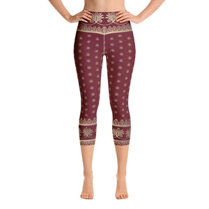 Prana (Red) High Waist Womens Yoga Capri Leggings