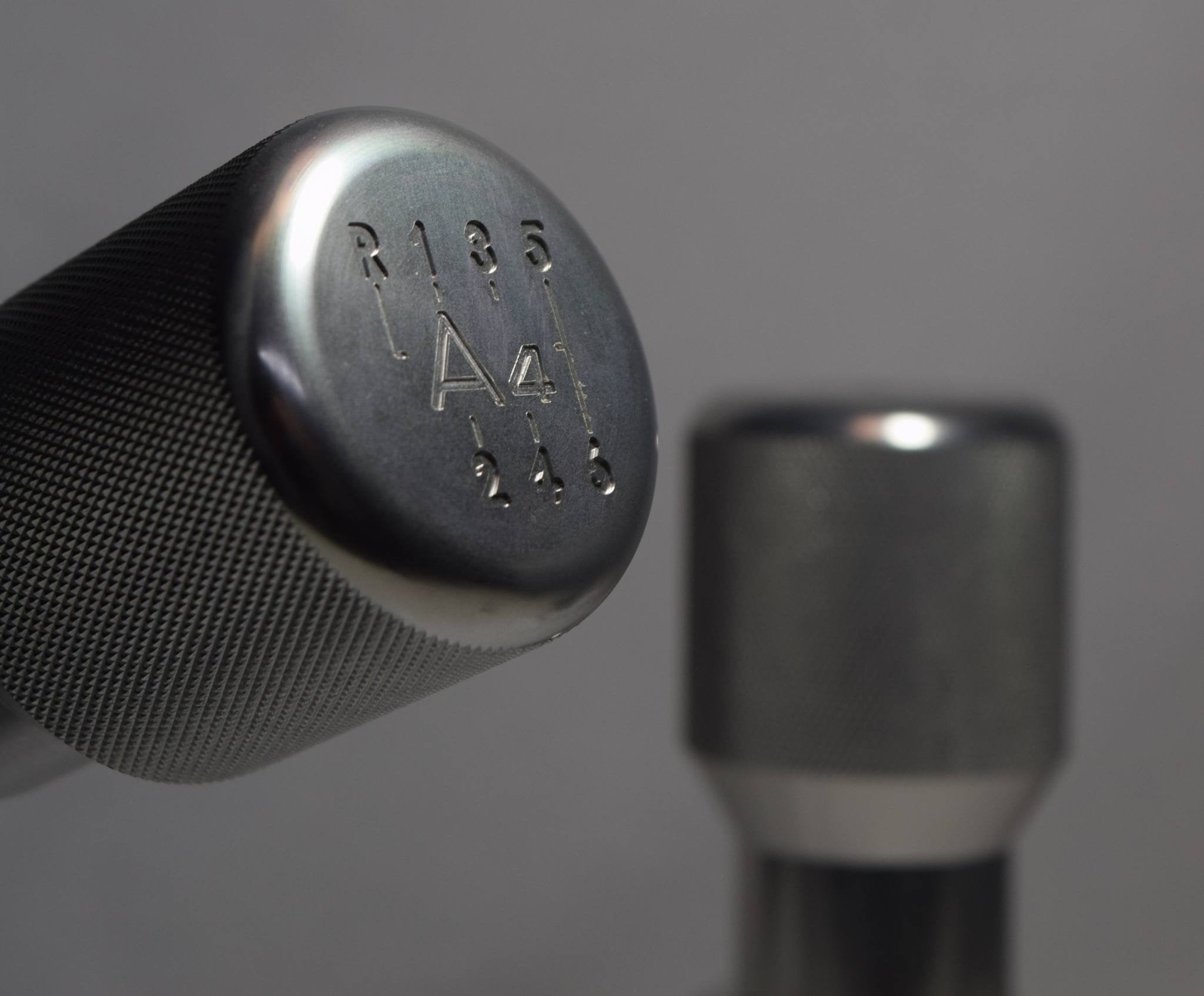 "Shift Knobs - EURO IMPULSE WEIGHTED BILLET SHIFT KNOB- SILVER- (6-SPD + ""A4"") W/ ADAPTER"