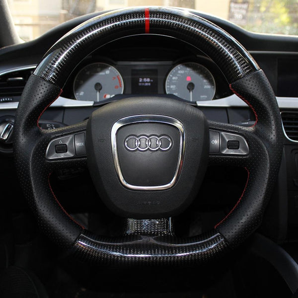 Steering - CARBON FIBER FLAT BOTTOM STEERING WHEEL (B7,B8) (3 Spoke)