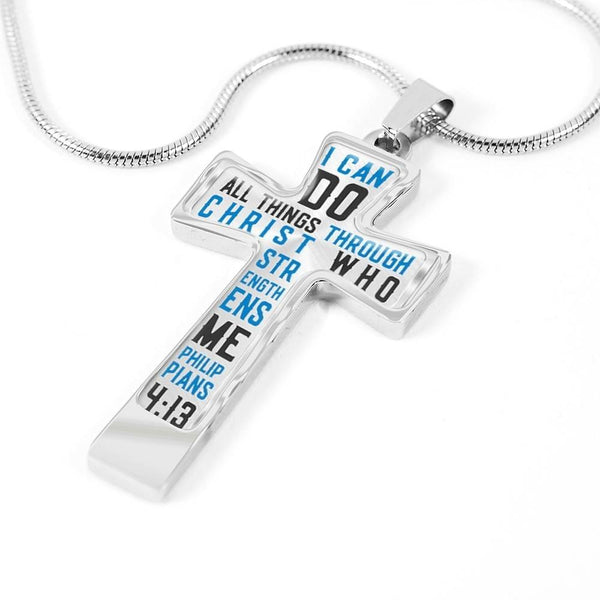 I Can Do All Things Through Christ Cross Necklace