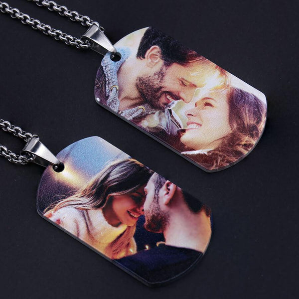 Polished Photo Tag with Ball Chain Necklace