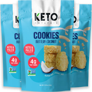 Keto Cookies, Buttery Coconut (Pack of 3).