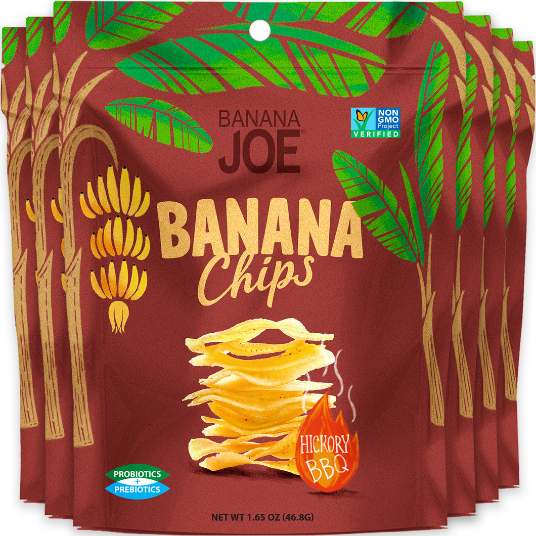 Hickory BBQ Flavored Banana Chips (Pack of 6).
