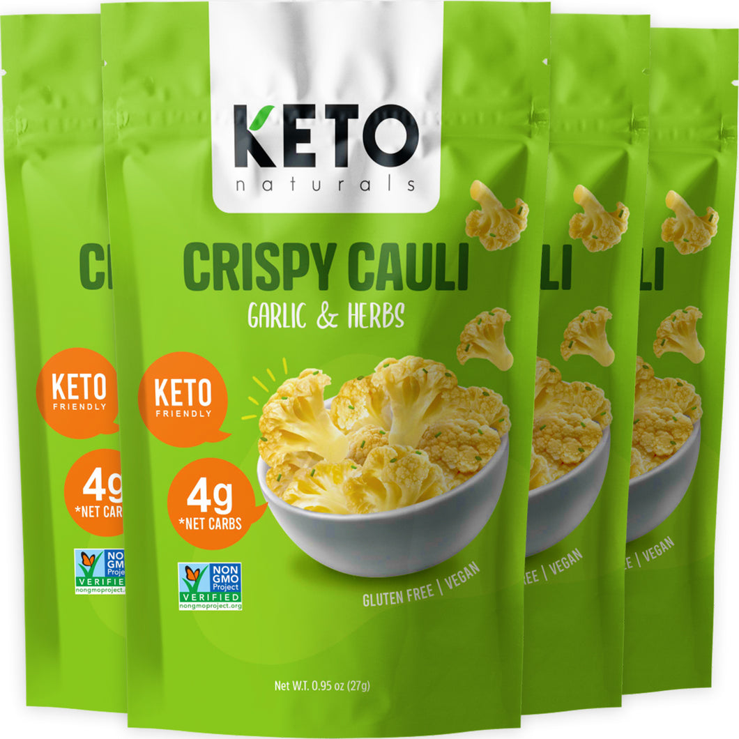 Keto Cauli Chips, Garlic & Herbs (Pack of 4).
