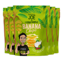 Load image into Gallery viewer, Mark Wiens Green Curry Flavored Banana Chips, 6-Pack.