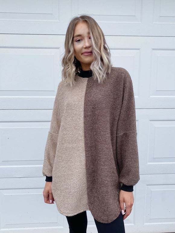Two-Toned Oversized Sweater