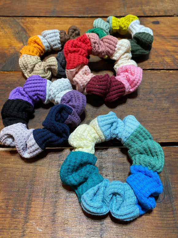 Waffle Knit Patchwork Scrunchies